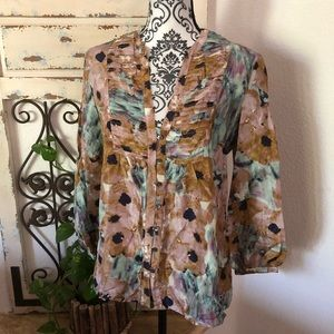 Theory silk floral print baggy sleeve blou…